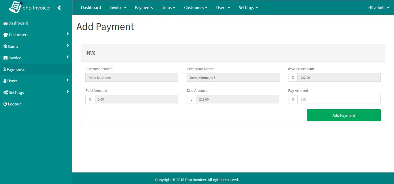 PHP Invoicer - Simple Invoicing Tool Screenshot 8