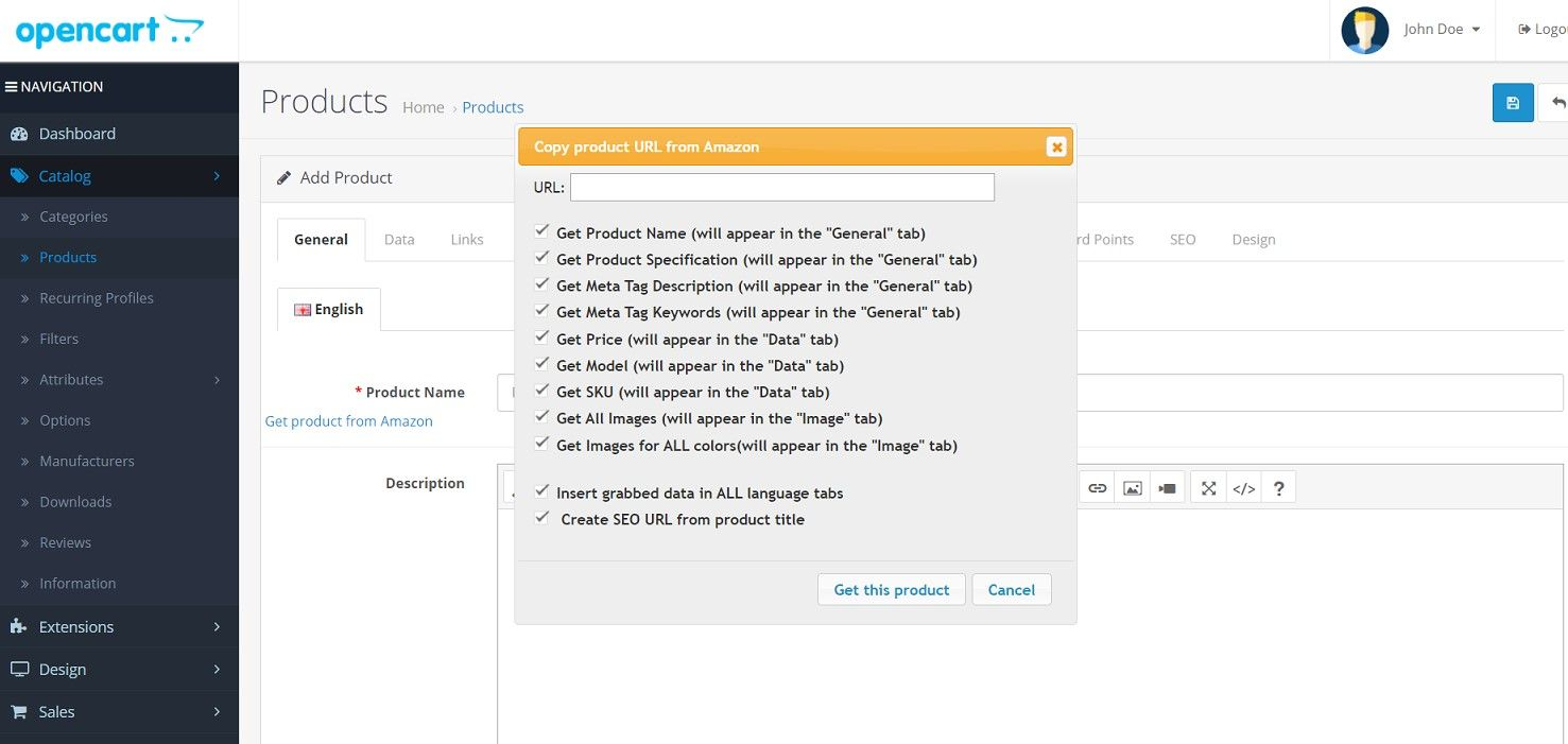 Get product from Amazon OpenCart Extension Screenshot 1
