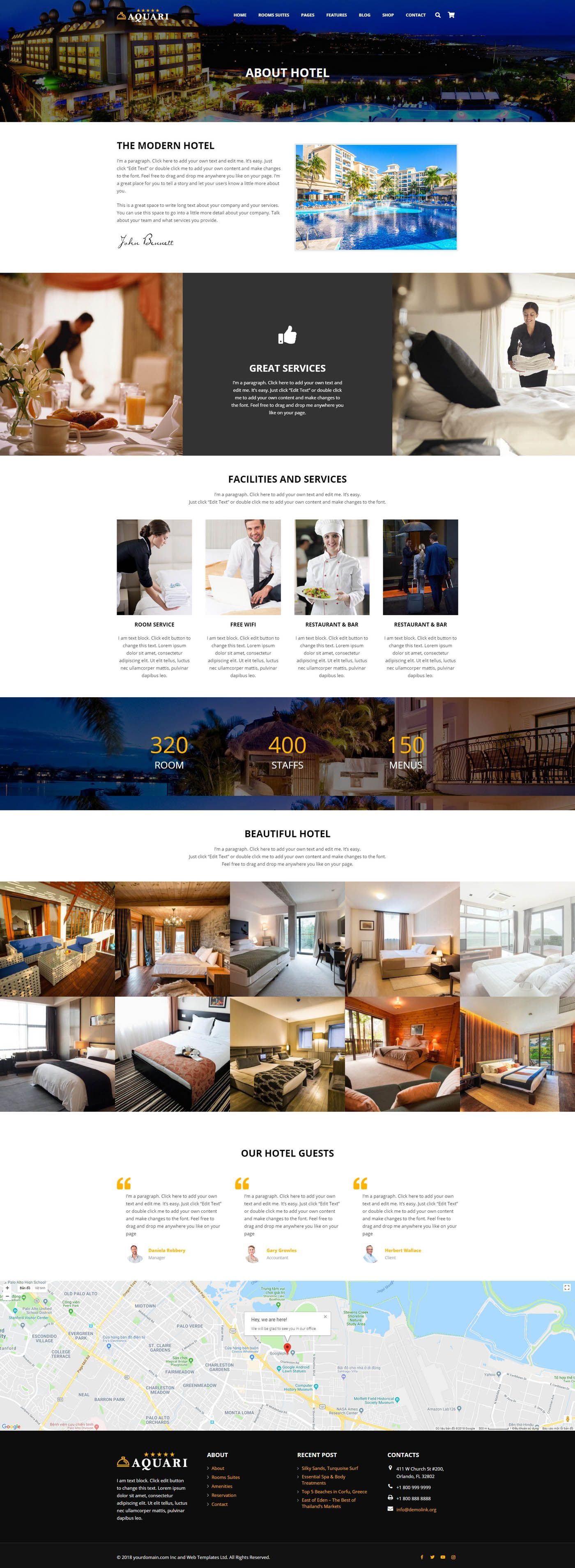 Aquari - Hotel Wordpress Theme Screenshot 1