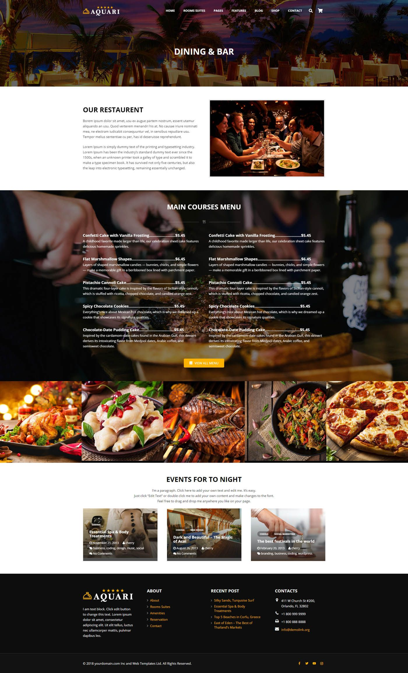 Aquari - Hotel Wordpress Theme Screenshot 3