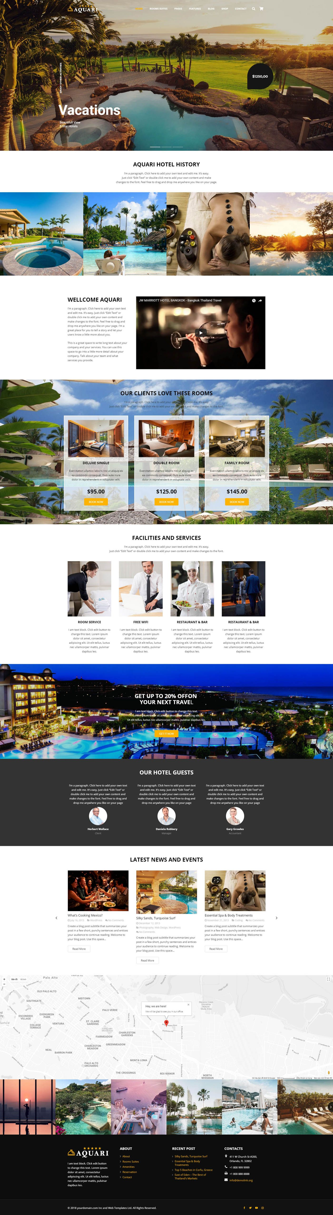 Aquari - Hotel Wordpress Theme Screenshot 5