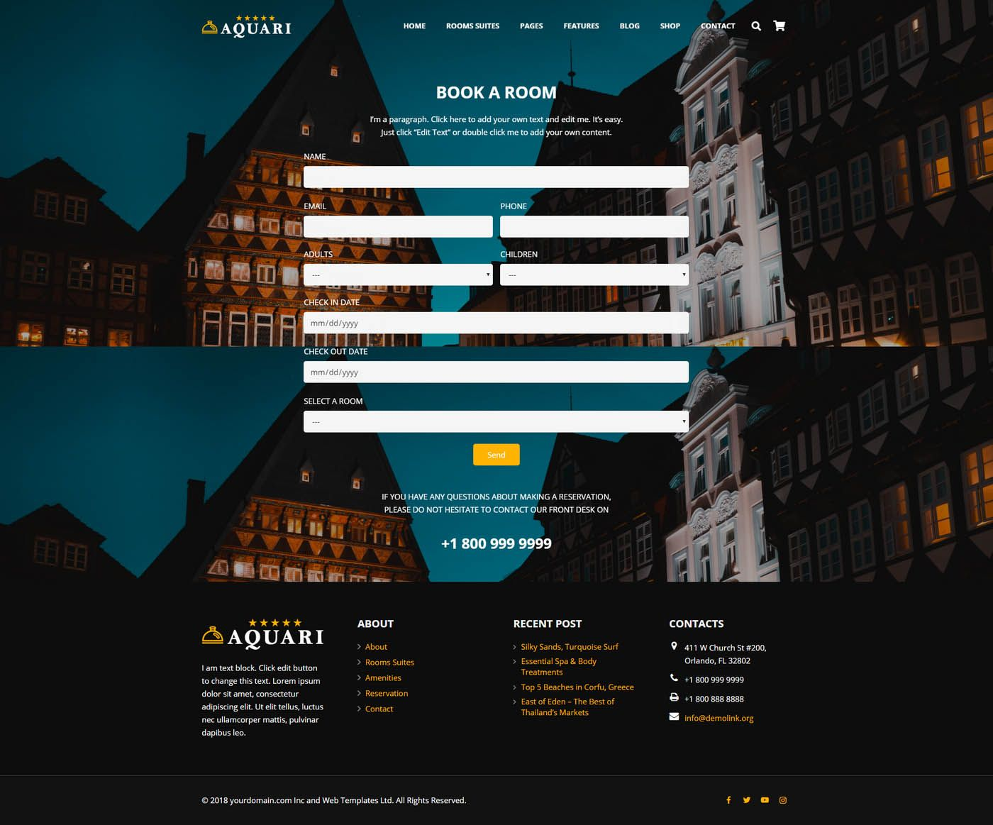 Aquari - Hotel Wordpress Theme Screenshot 6