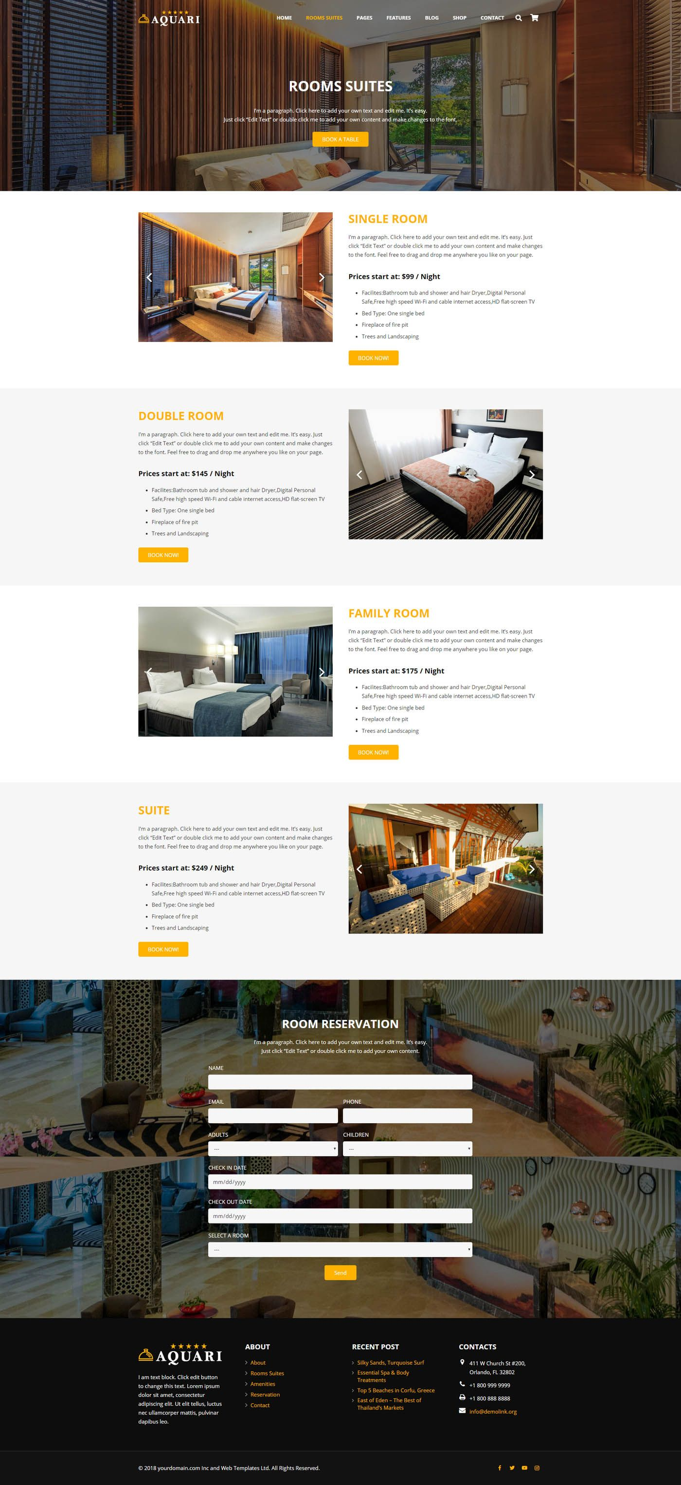 Aquari - Hotel Wordpress Theme Screenshot 7
