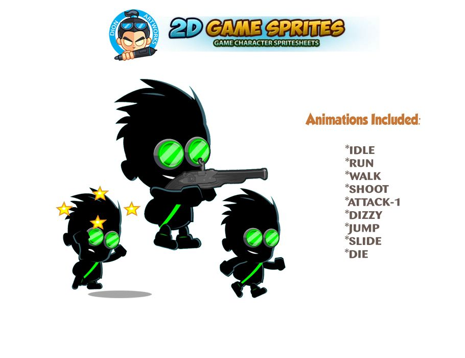 Shadow Boy 2D Game Character Sprites Screenshot 1