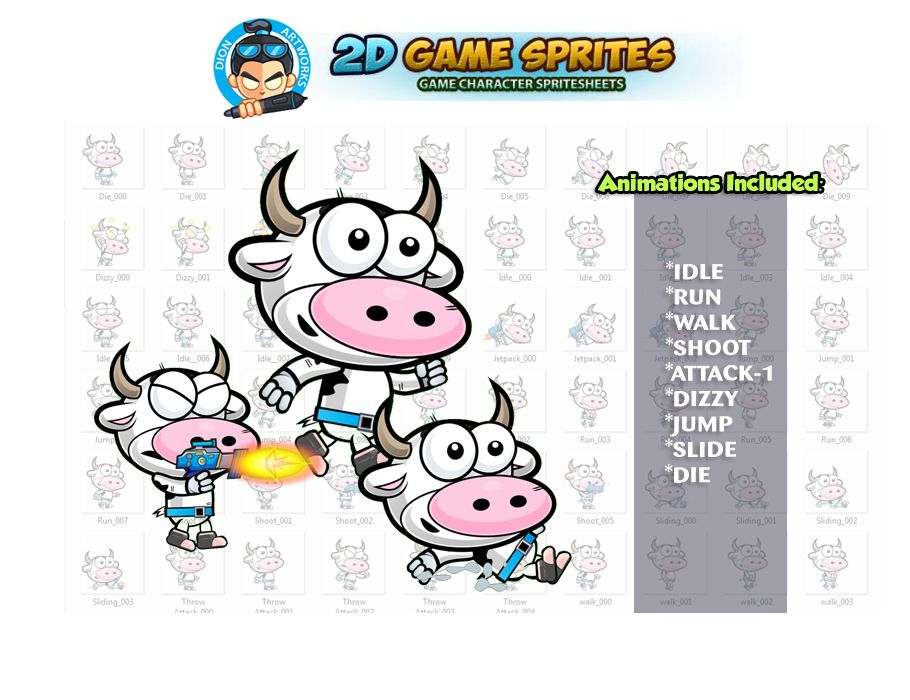 Cow 2D Game Character Sprites Screenshot 1