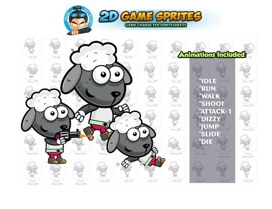 Sheep 2D Game Character Sprites Screenshot 1