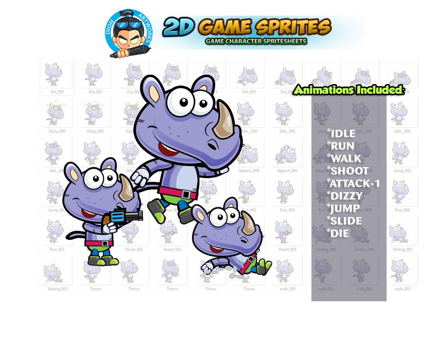 Rhino 2D Game Sprites Screenshot 1