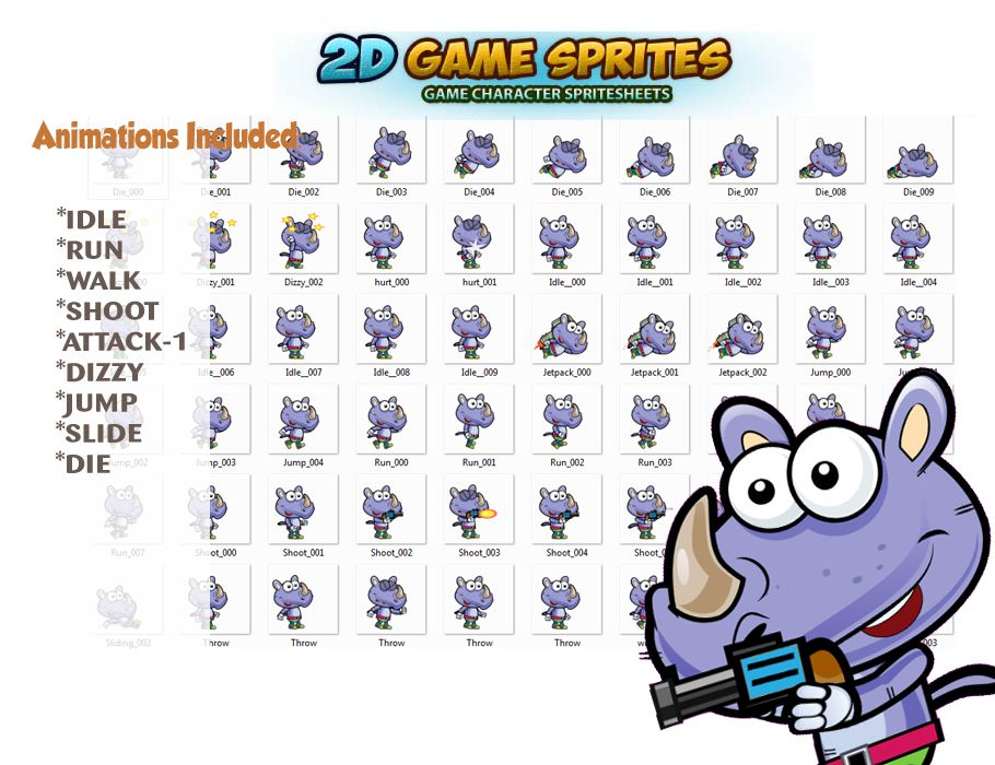 Rhino 2D Game Sprites Screenshot 2