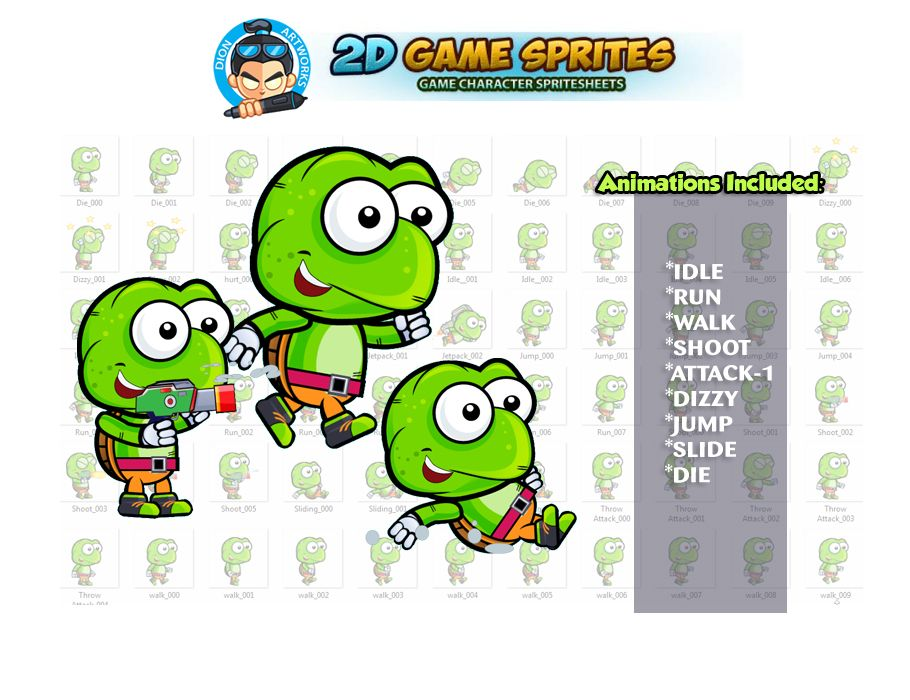 Turtle 2D Game Character Sprites Screenshot 1
