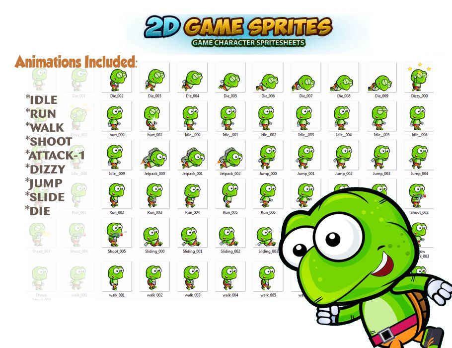 Turtle 2D Game Character Sprites Screenshot 2