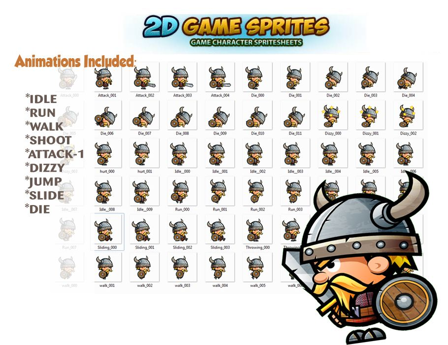 Viking 2D Game Character Sprites Screenshot 2