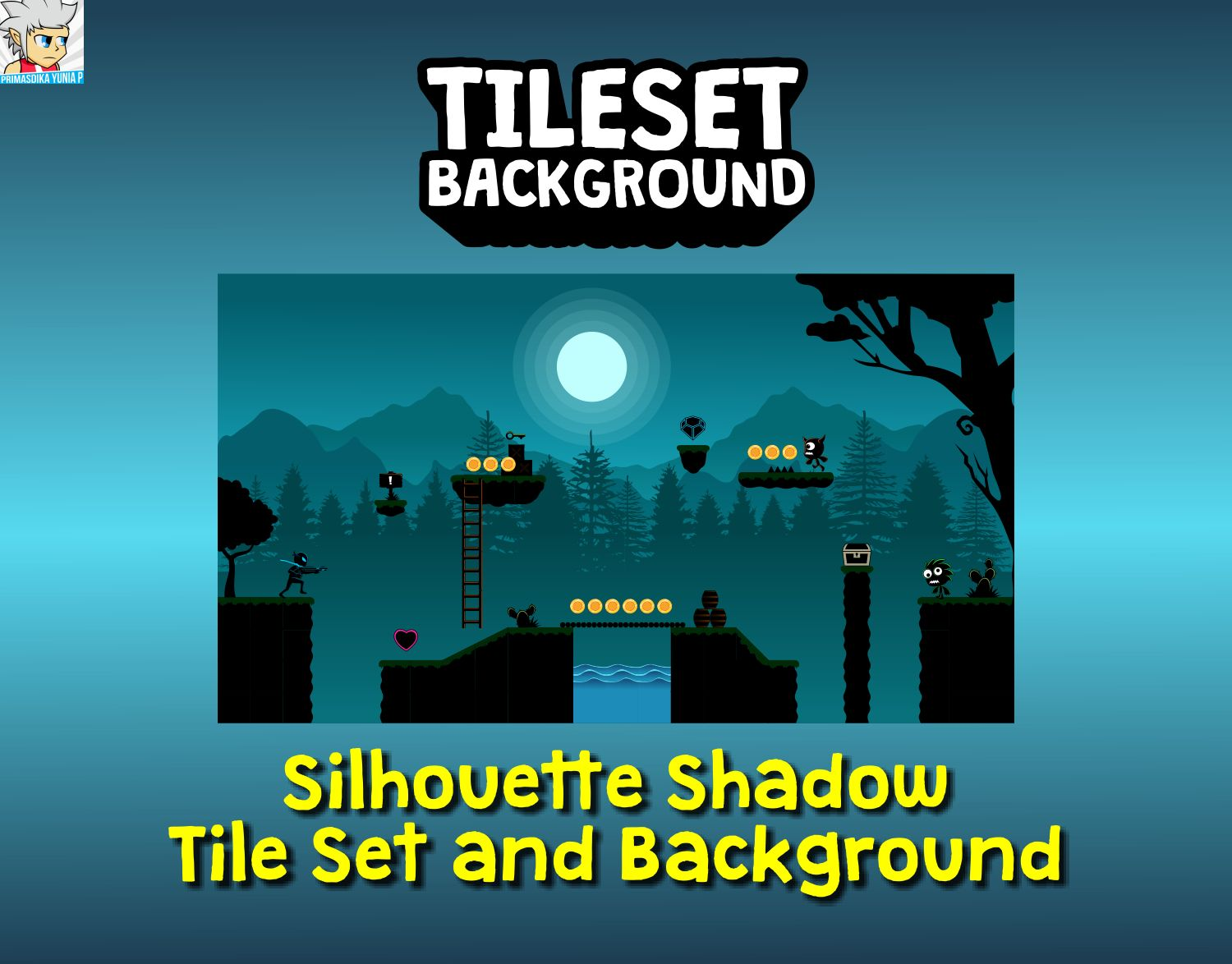 Silhouette Shadow Tileset and Background Screenshot 1