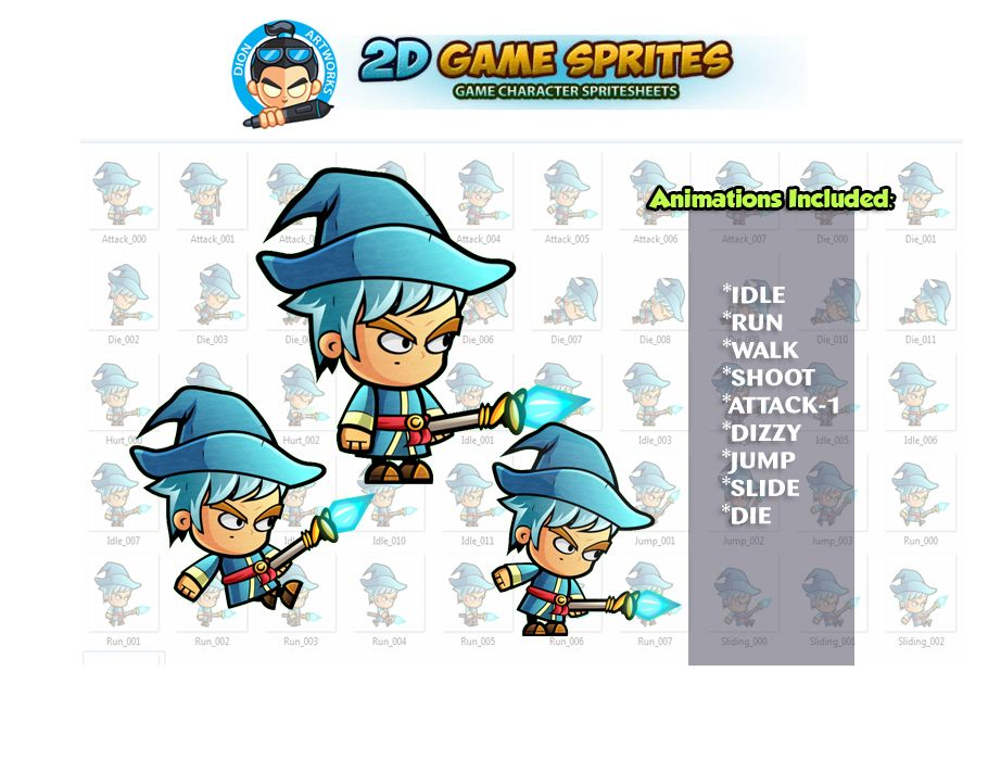 Mage 2D Game Character Sprites Screenshot 1
