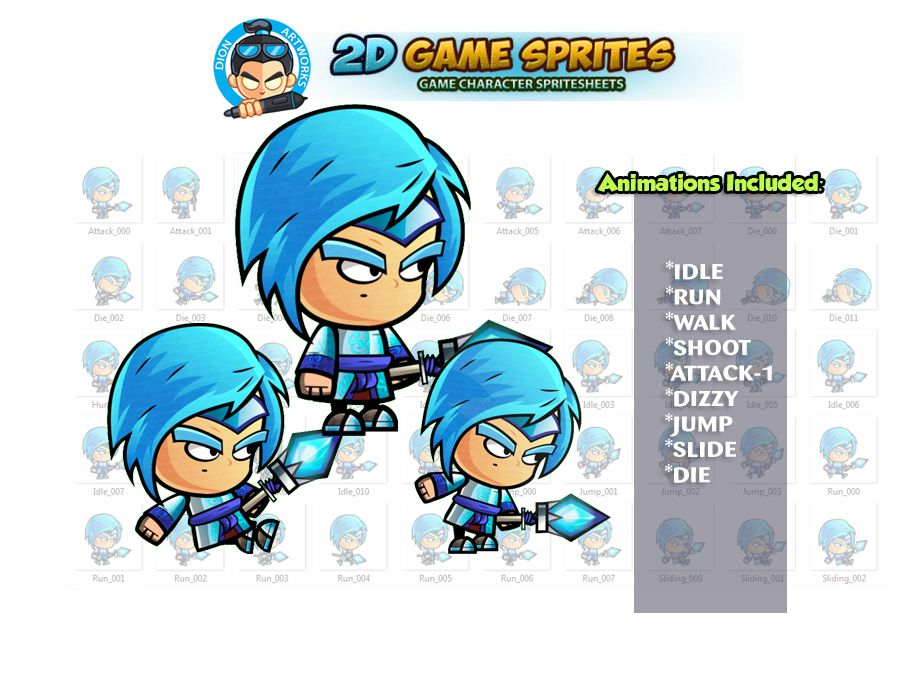 Ice Mage 2D Game Character Sprites Screenshot 1