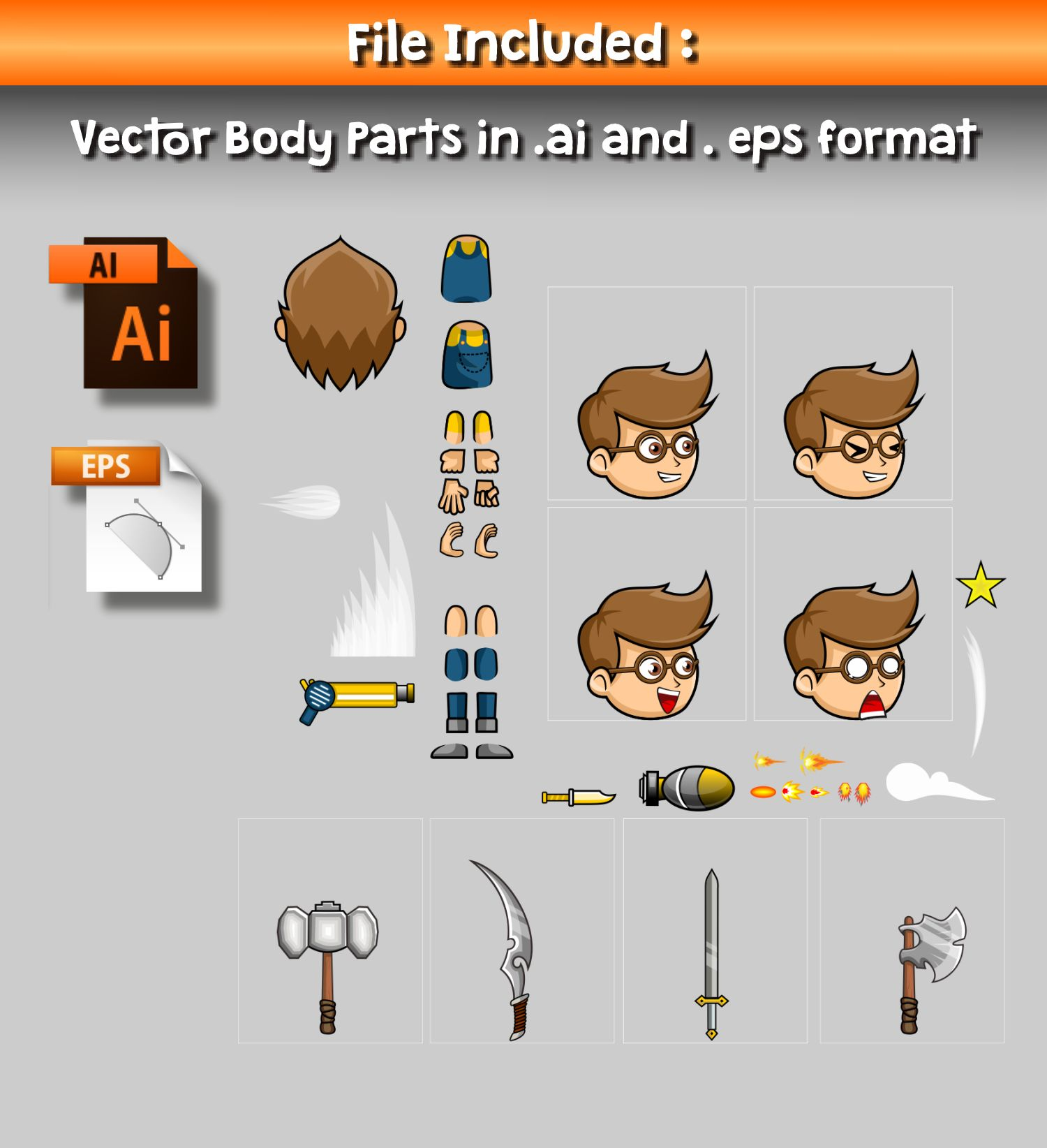 Geek Boy 2D Game Character Sprite Screenshot 3