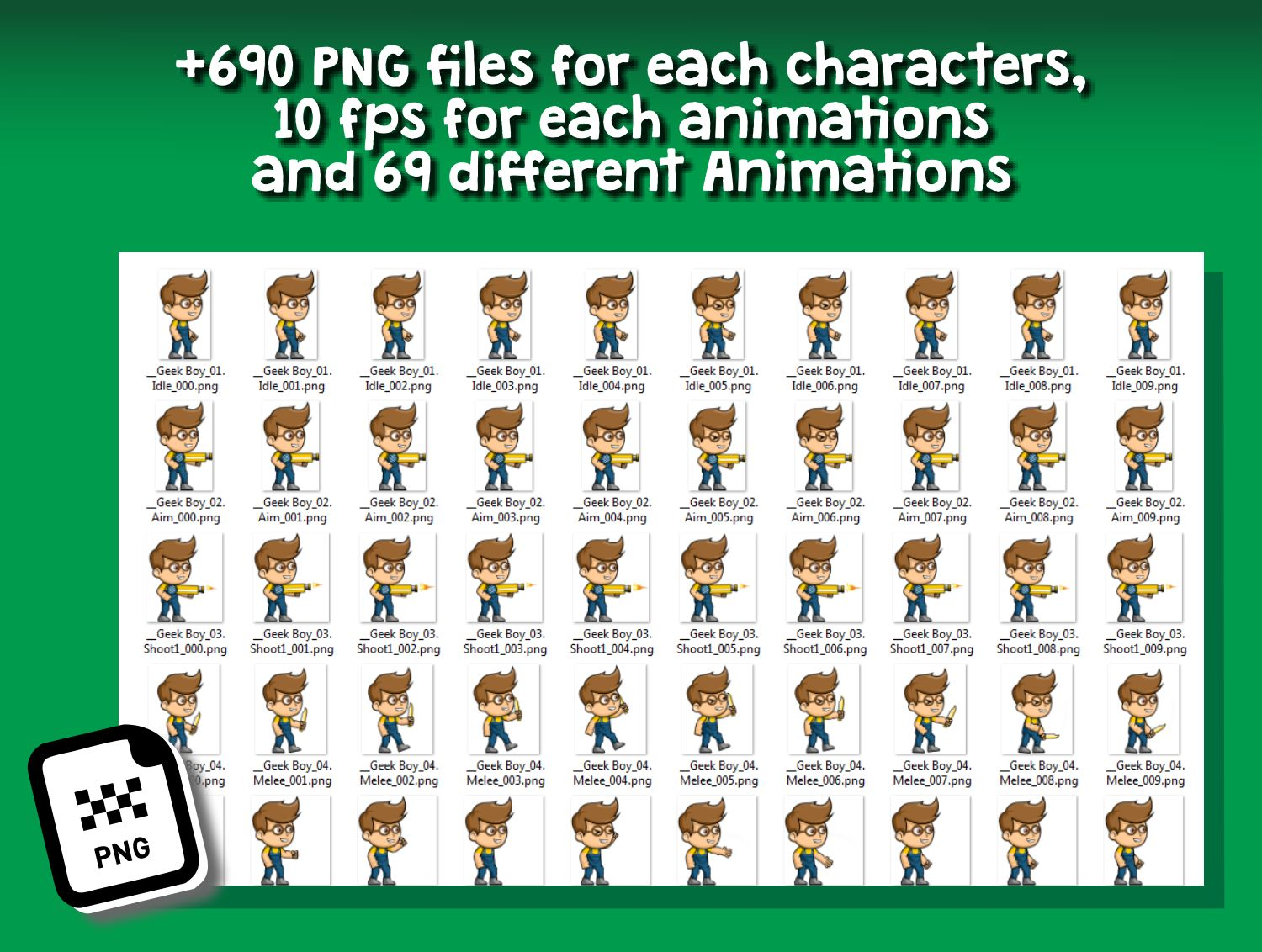 Geek Boy 2D Game Character Sprite Screenshot 4