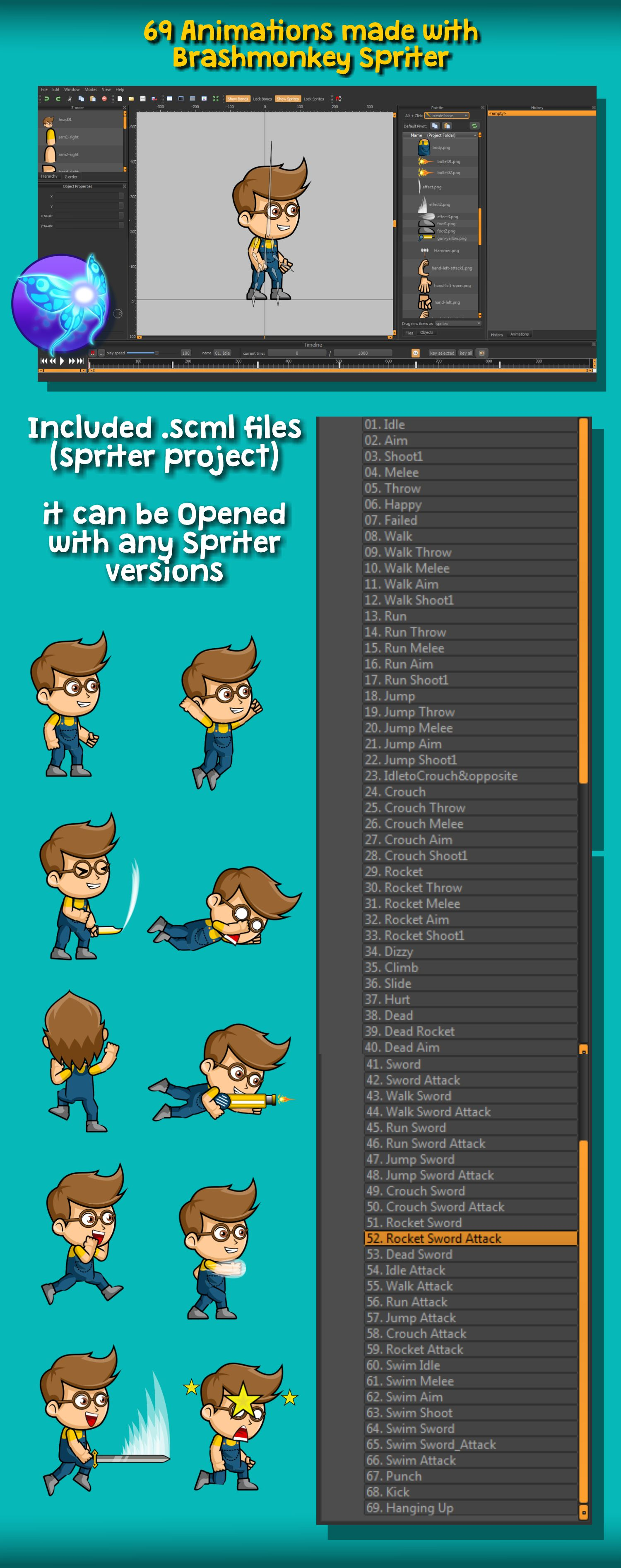 Geek Boy 2D Game Character Sprite Screenshot 5