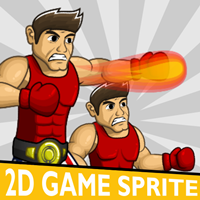 American Boxer 2D Game Character Sprite