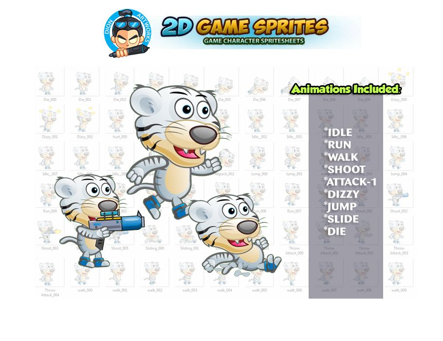 White Tiger 2D Game Character Sprites  Screenshot 1