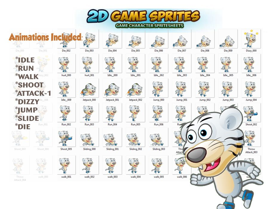 White Tiger 2D Game Character Sprites  Screenshot 2