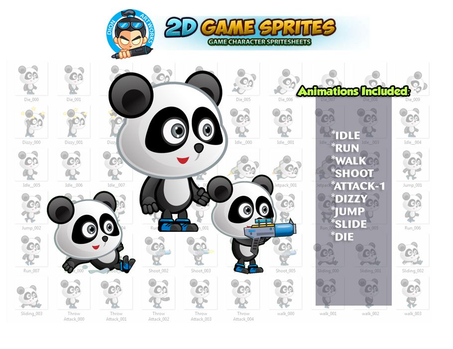 Panda 2D Game Character Sprites  Screenshot 1