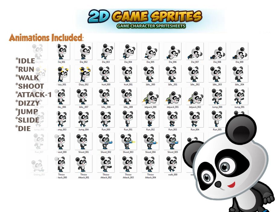 Panda 2D Game Character Sprites  Screenshot 2