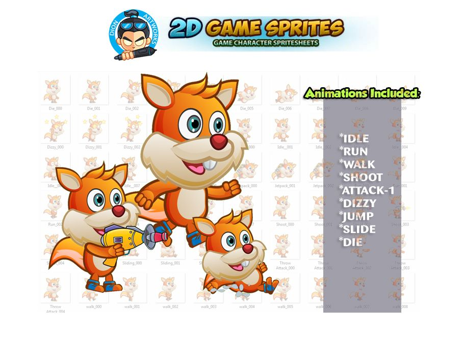 Squirrel 2D Game Character Sprites  Screenshot 1