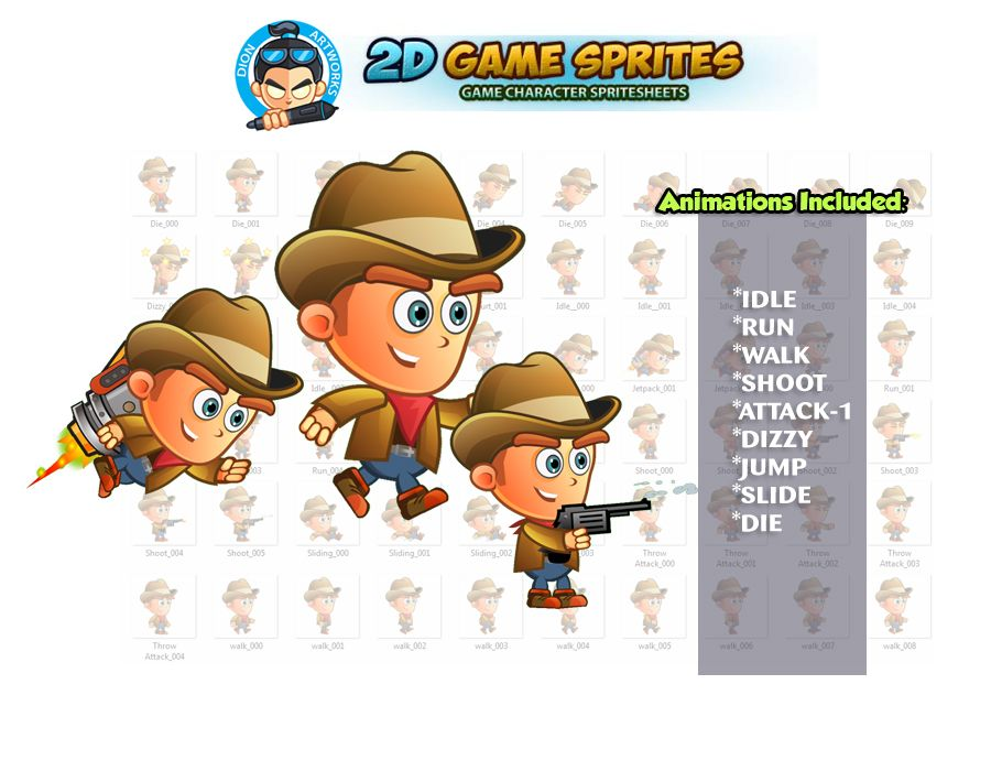 CowBoy 2D Game Character Sprites Screenshot 1