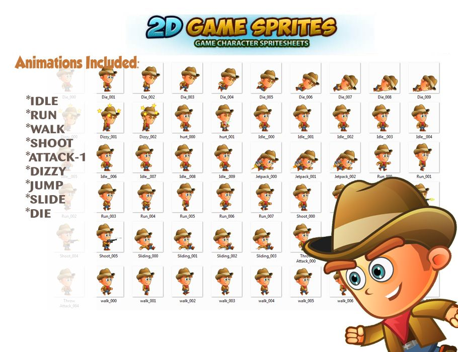 CowBoy 2D Game Character Sprites Screenshot 2