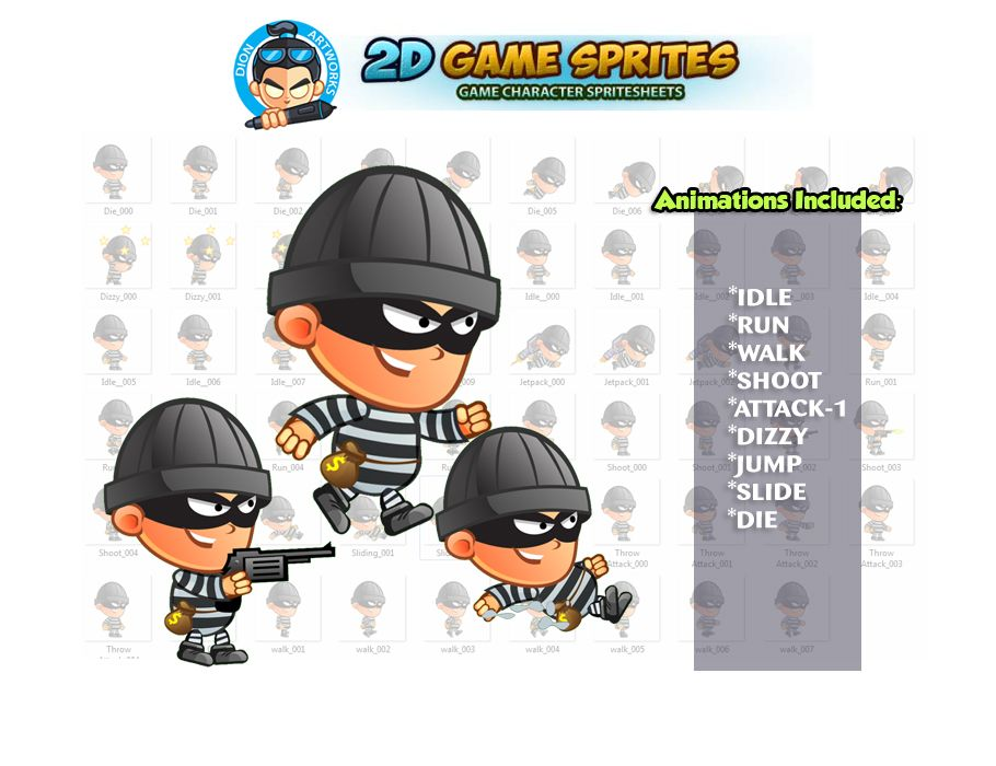 Robber 2D Game Character Sprites  Screenshot 1