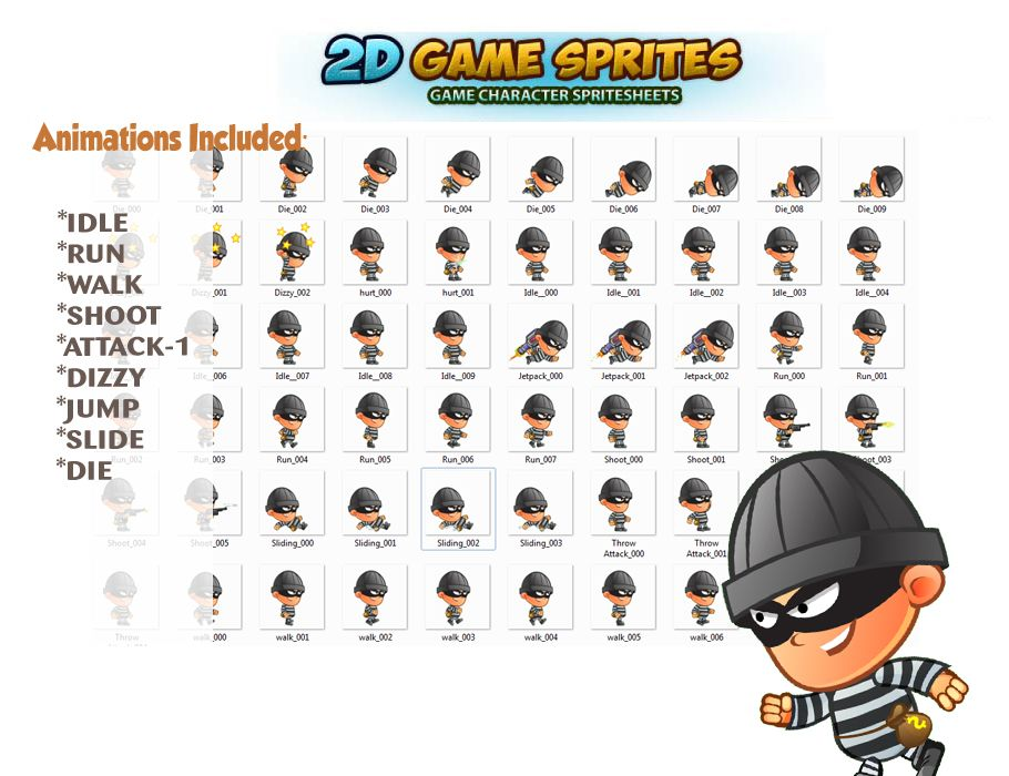 Robber 2D Game Character Sprites  Screenshot 2