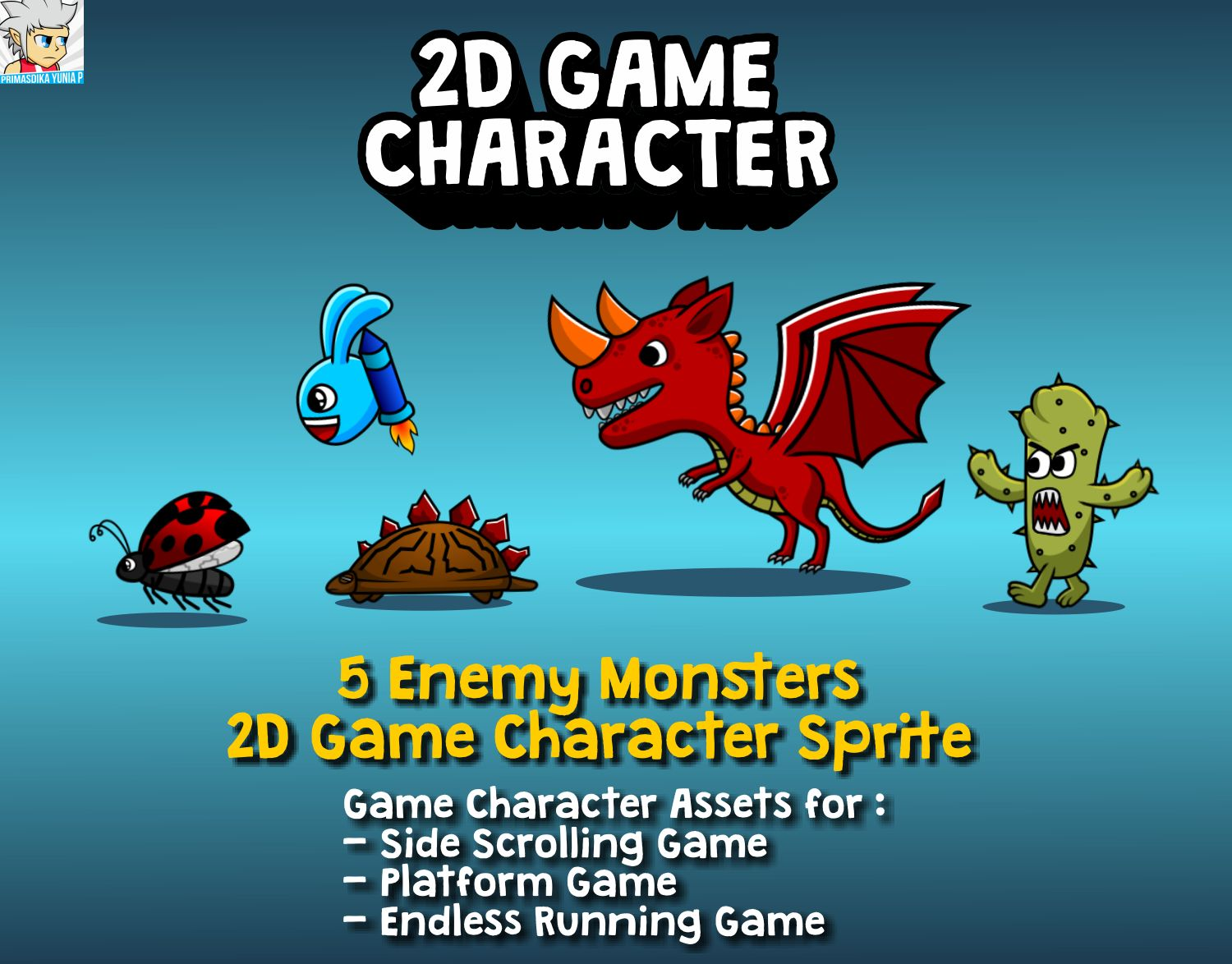 5 Enemy Monsters 2D Game Character Sprite Screenshot 1