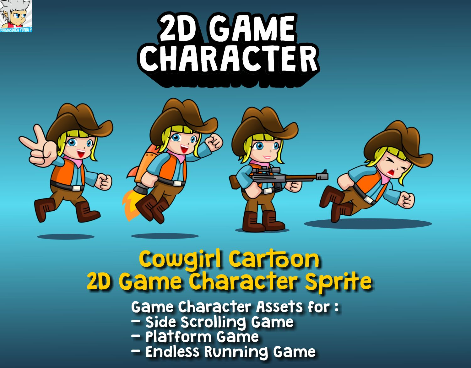 Cowgirl Cartoon 2D Game Character Sprite Screenshot 1