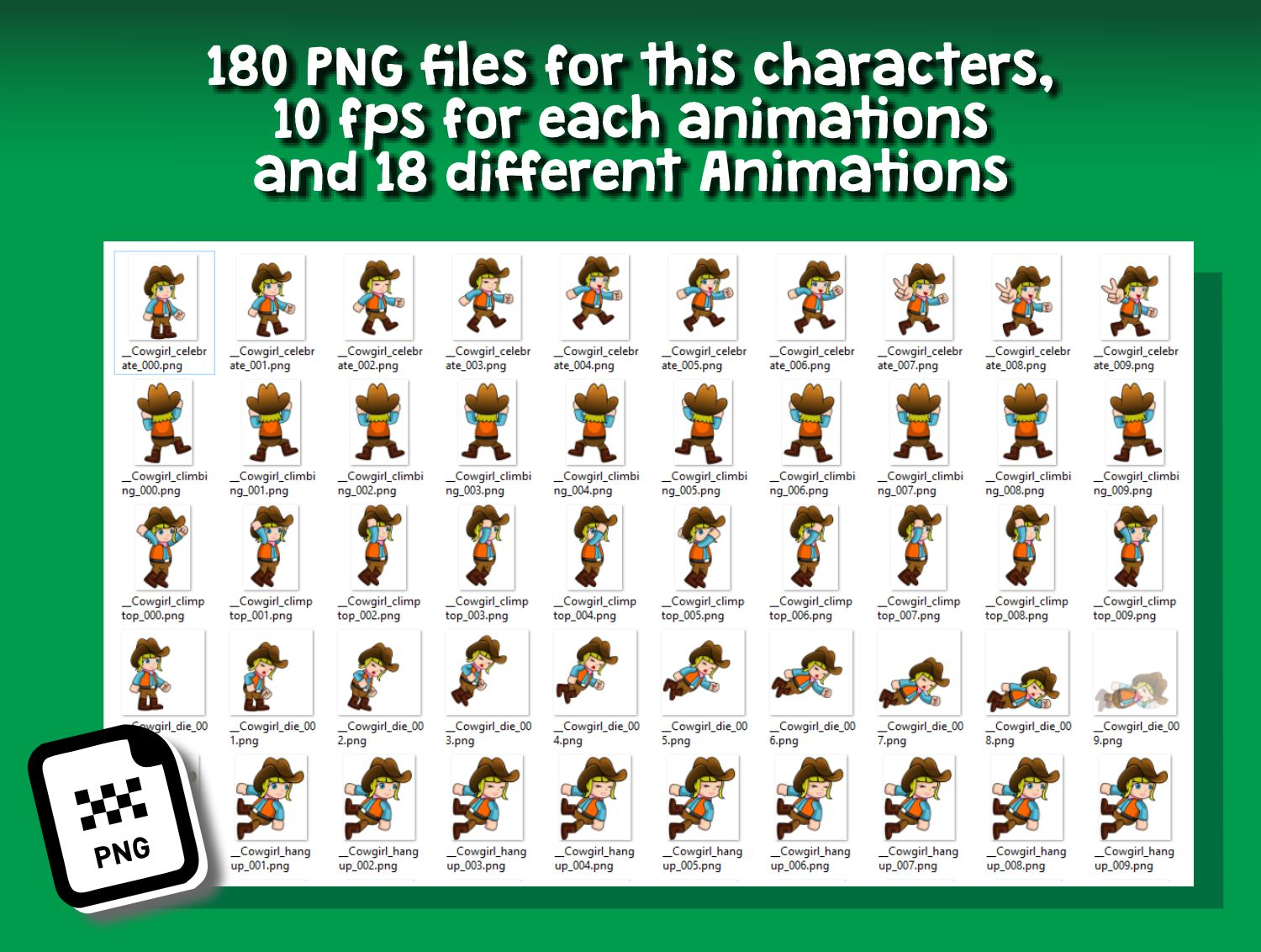 Cowgirl Cartoon 2D Game Character Sprite Screenshot 4