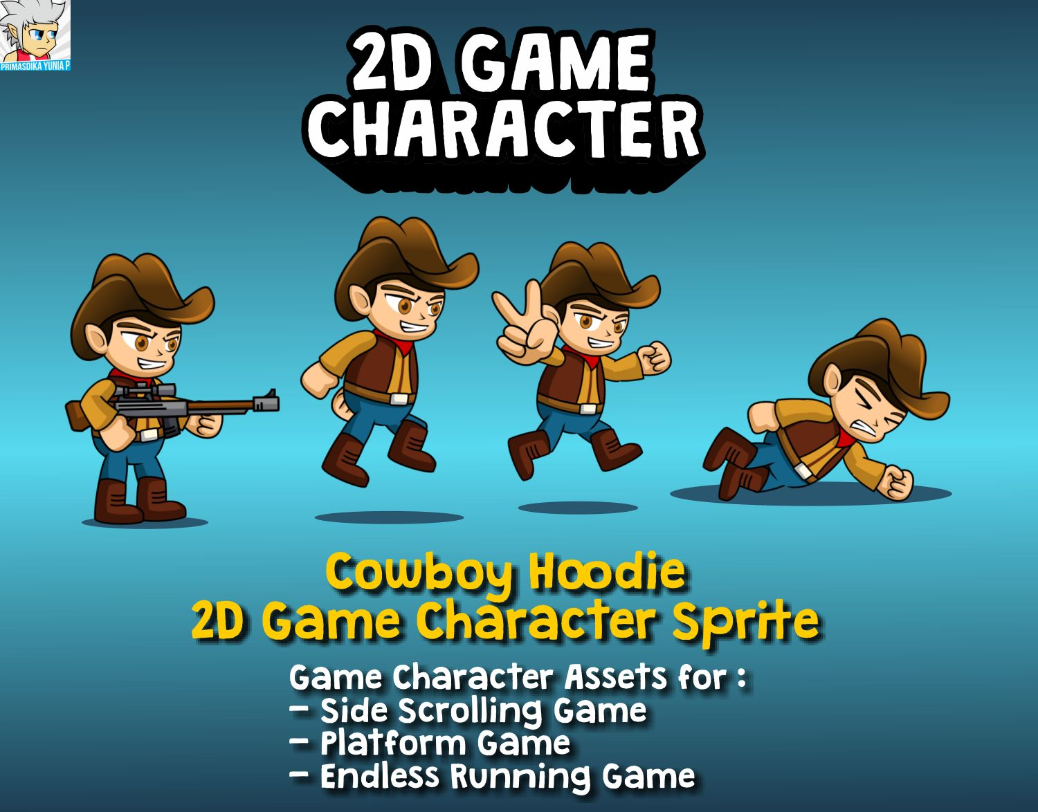 Cowboy Hoodie 2D Game Character Sprite Screenshot 1