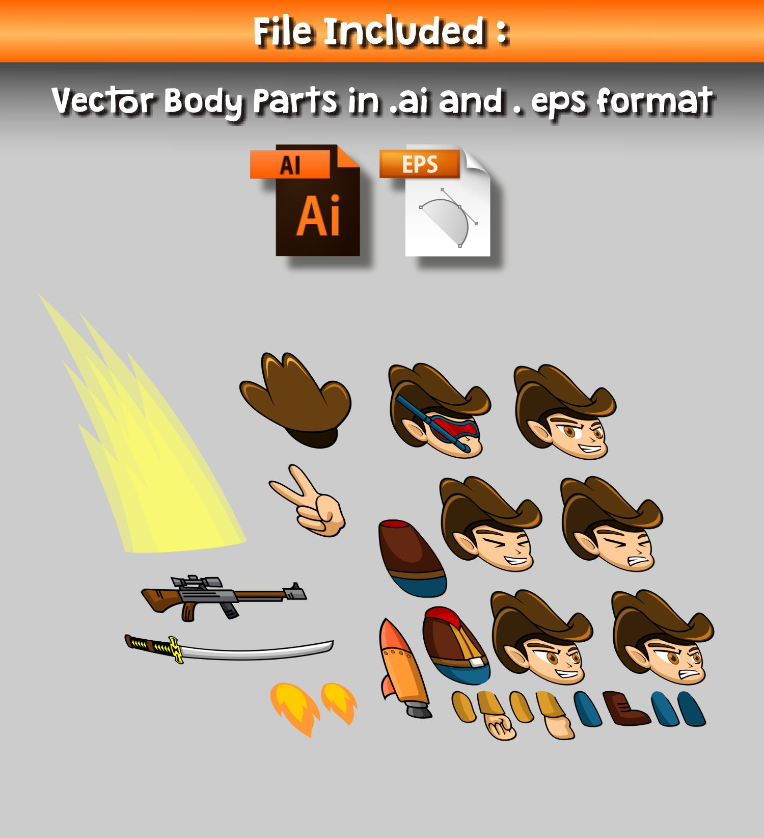 Cowboy Hoodie 2D Game Character Sprite Screenshot 3