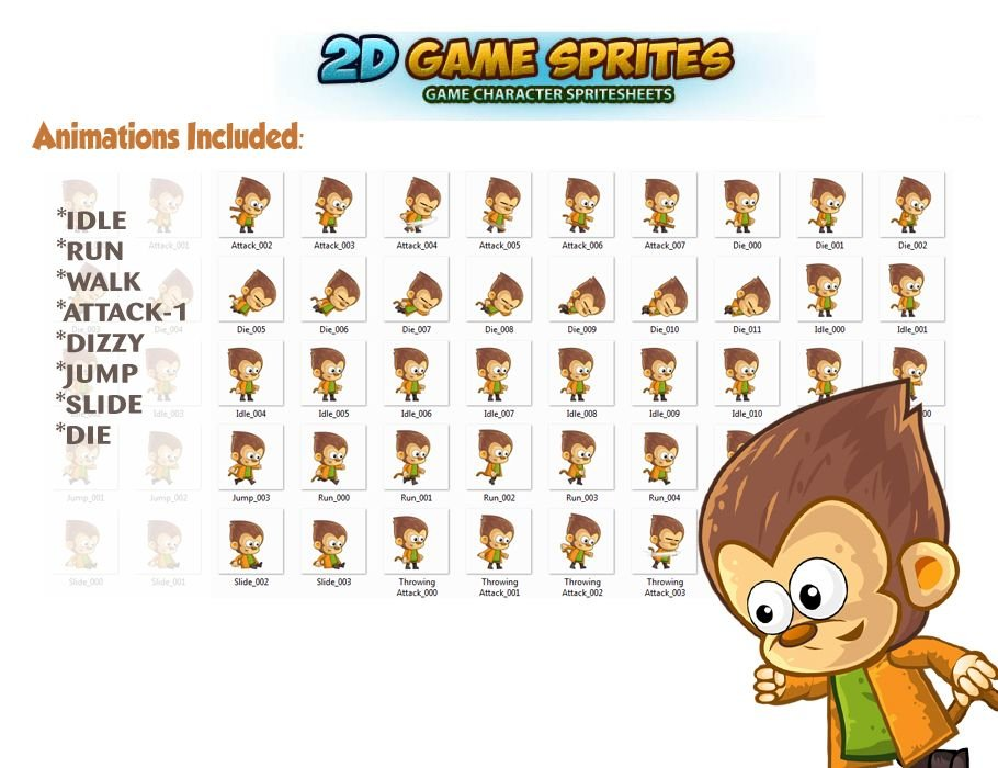 Monkey's 2D Game Character Sprites Screenshot 2