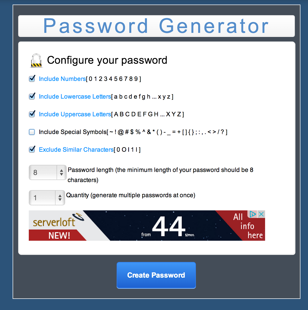 MC Password Generator PHP Script Screenshot 1