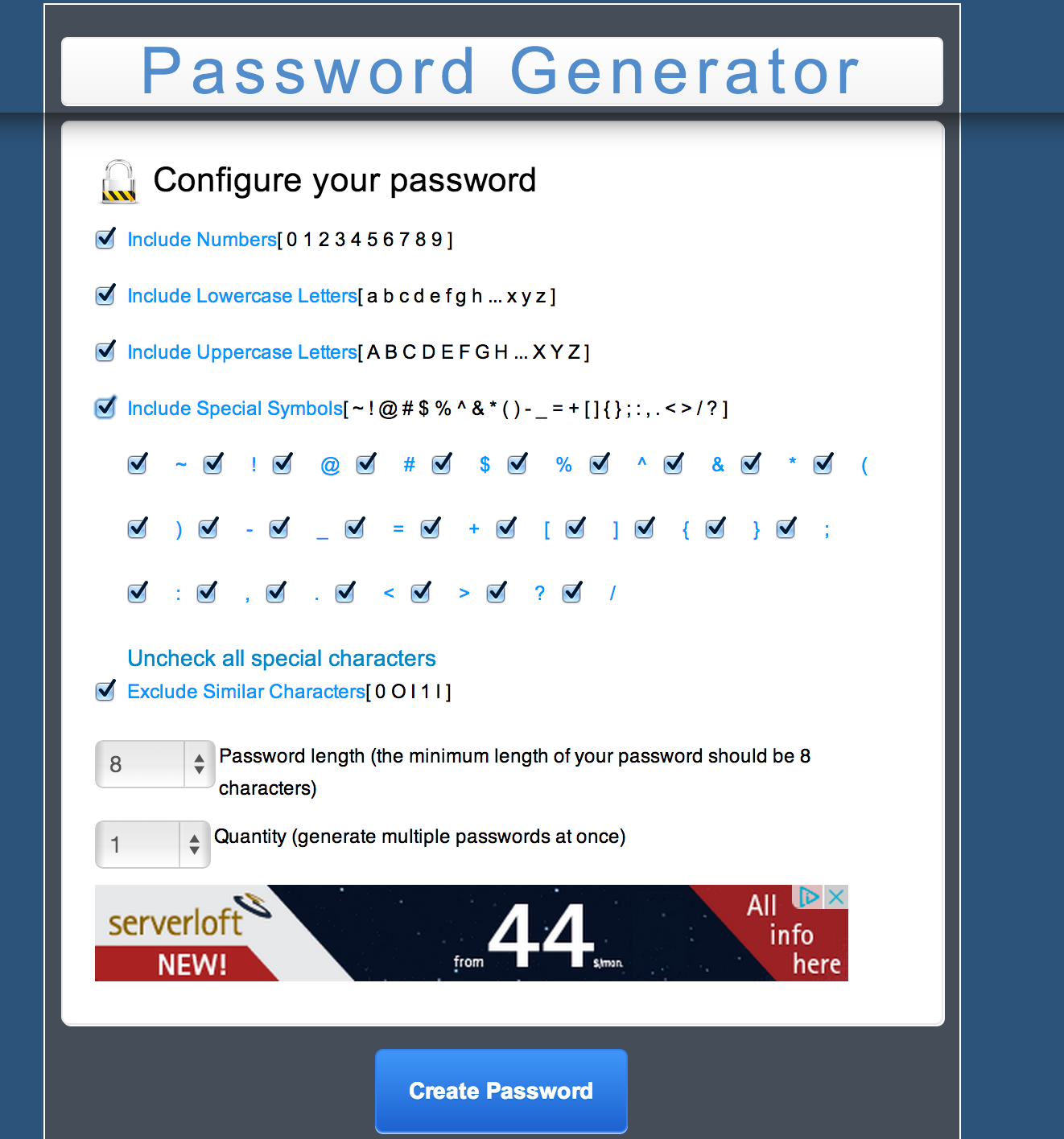 MC Password Generator PHP Script Screenshot 2