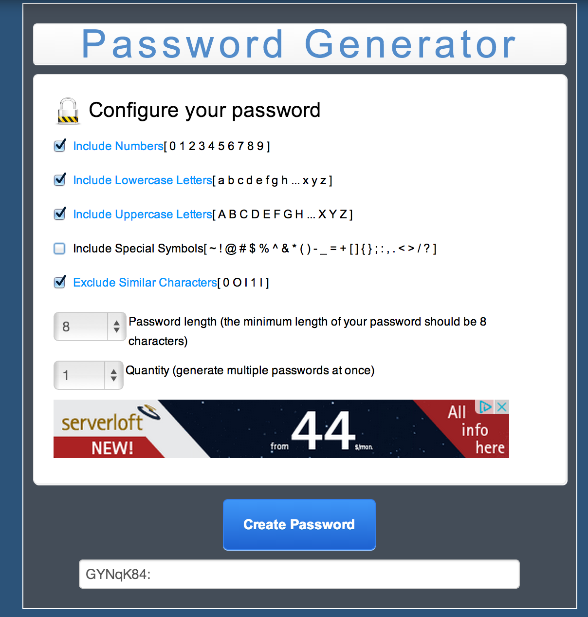 MC Password Generator PHP Script Screenshot 3