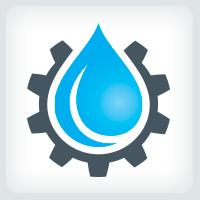 Water droplet and Gear - Plumbing Logo