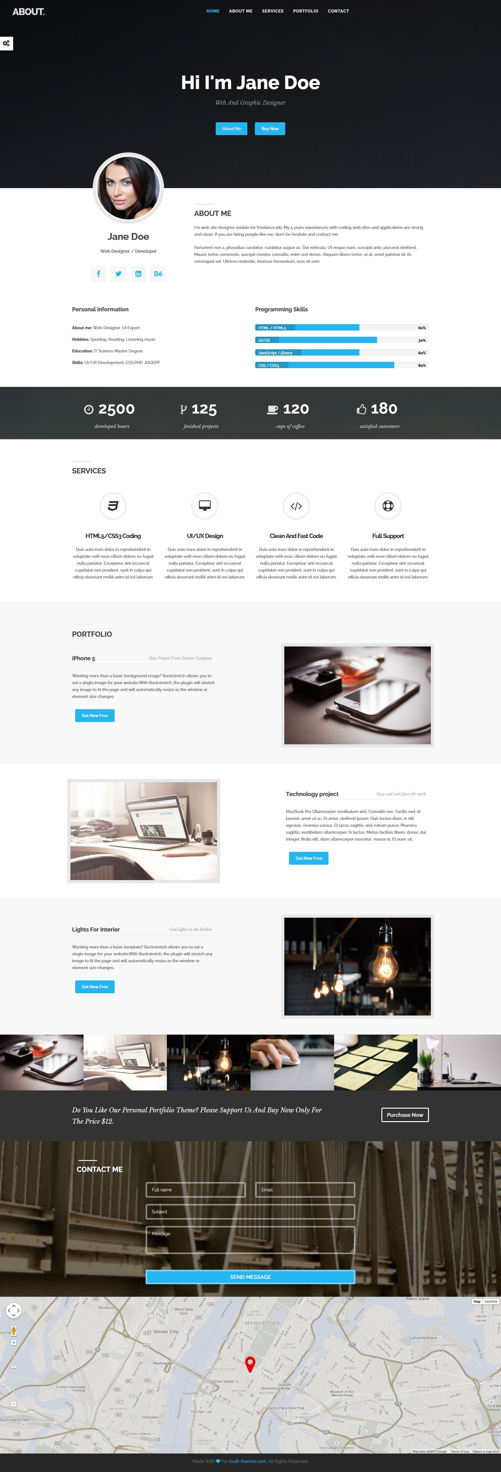 About - HTML Bootstrap Resume Portfolio Theme Screenshot 1