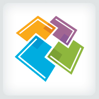 Overlapping Squares - Tiles Logo