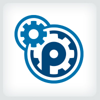 Mechanical Gears - Letter P Logo