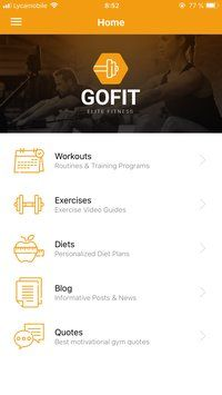 GoFit - React Fitness App Template Screenshot 2
