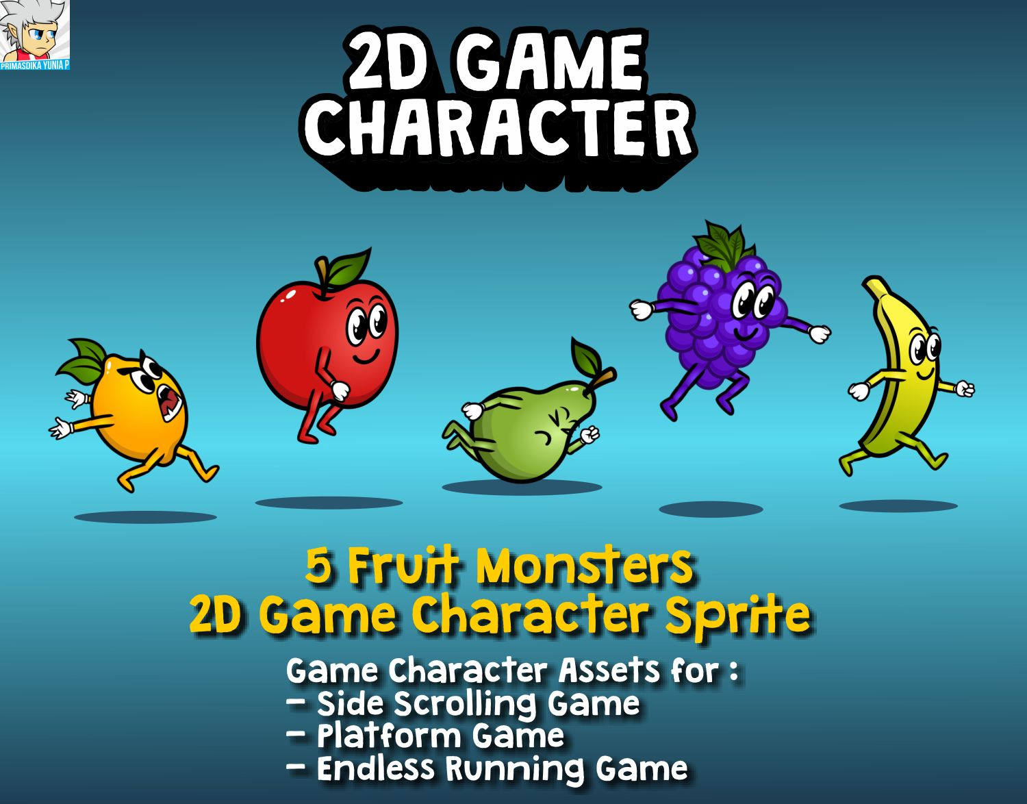 5 Fruit Monsters 2D Game Character Sprite Screenshot 1