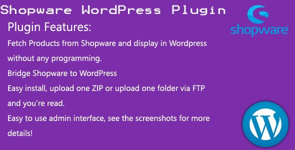 Shopware WordPress plugin Screenshot 1