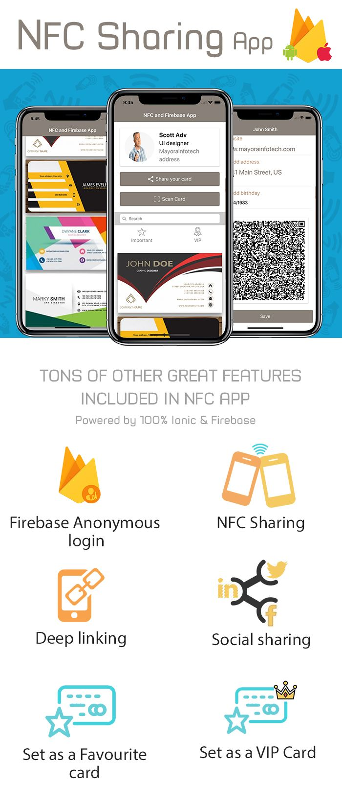Card Sharing App in Ionic using NFC and Firebase Screenshot 1