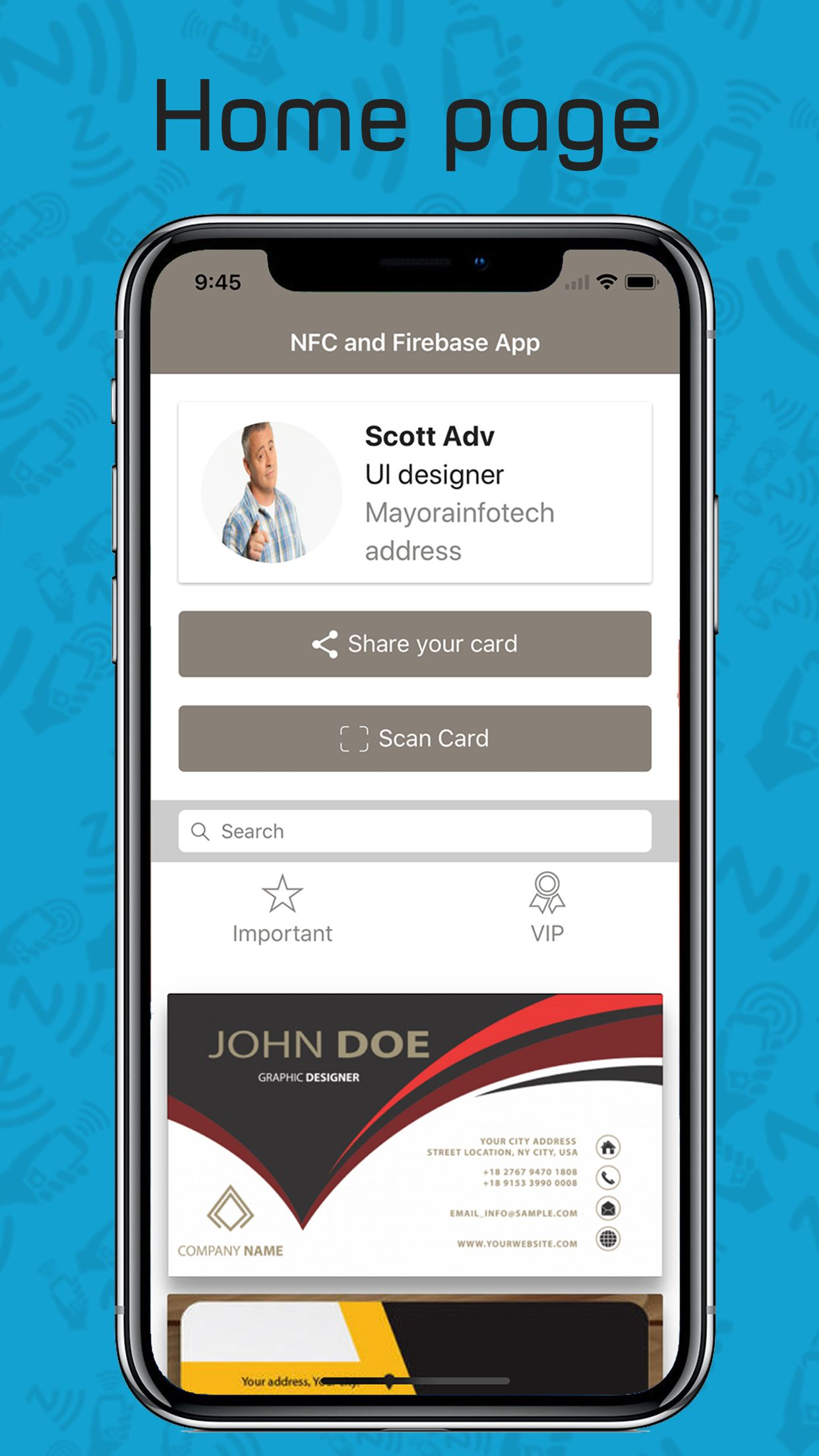 Card Sharing App in Ionic using NFC and Firebase Screenshot 3