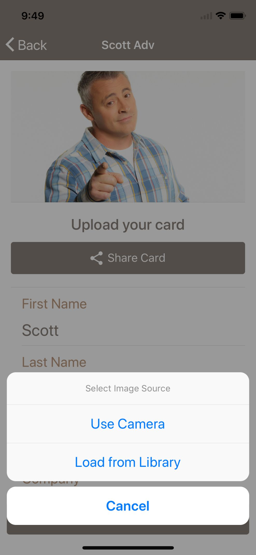 Card Sharing App in Ionic using NFC and Firebase Screenshot 7